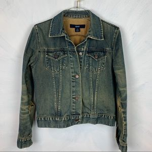 GAP Distressed Vintage Vibe Denim Jean Jacket